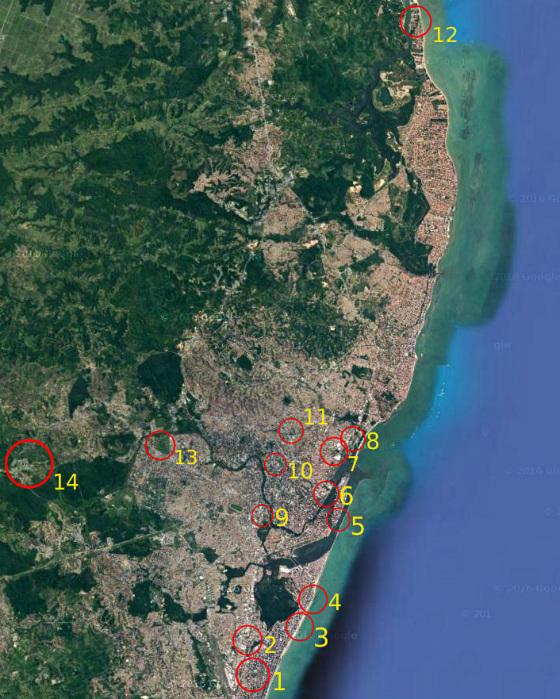 Ideias para centros pan-americanos no Recife. Arte: Cassio Zirpoli sobre imagem do Google Maps