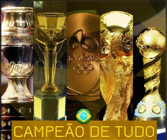 Seleção Brasileira, campeã de tudo. Arte: Fred Figueiroa/DP