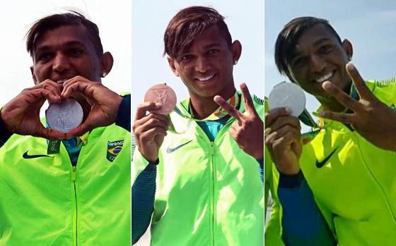 As três medalhas olímpicas de Isaquias Queiroz no Rio, em 2016. Crédito: Rio 2016/twitter (@Rio2016) e Sportv/reprodução