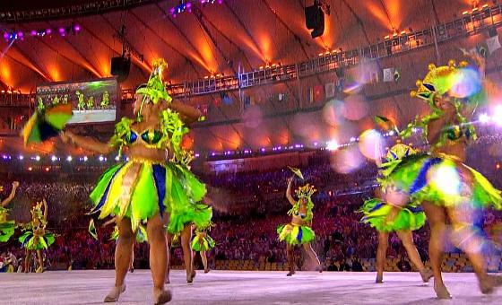 Frevo na Cerimônia de Encerramento dos Jogos Olímpicos de 2016, no Maracanã. Crédito: Rede Globo/reprodução