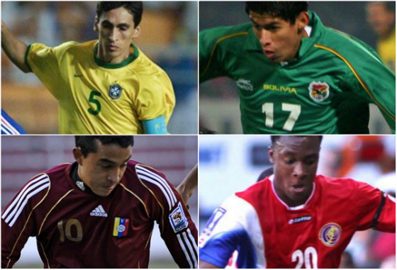 Leomar, Juan Arce, Peña e Rodney Wallace jogando nas seleções do Brasil, Bolívia, Venezuela e Costa Rica