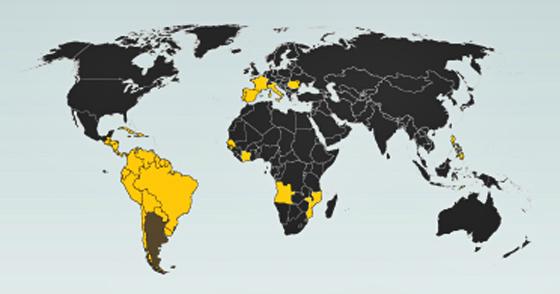 Mapa da União Latina (países amarelos)