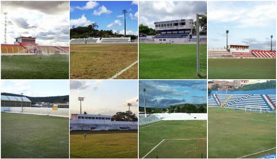 Estádios da Série A2 de 2016: Vianão, Luiz de Brito, Gileno de Carli e José Vareda; Áureo Bradley, Paulo Petribu, Ferreira Lima e Carneirão