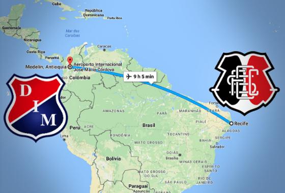 Distância entre o Recife e Medellín. Arte de Cassio Zirpoli sobre imagem do Google Maps