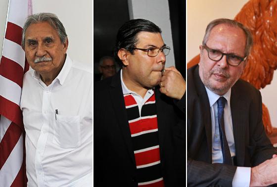 Os presidentes de Náutico (Ivan Brondi), Santa (Alírio Moraes) e Sport (Martorelli) em 2016. Fotos: Náutico/site oficial e arquivo/DP