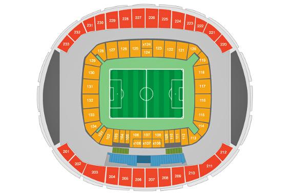 Divisão de assentos na Arena das Dunas. Crédito: CBF