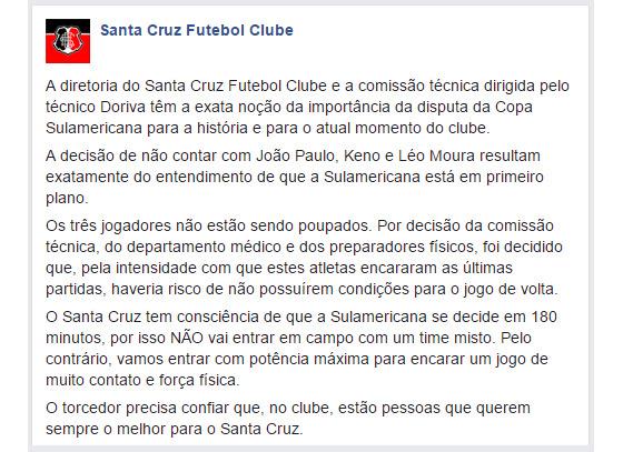 Comunicado do Santa Cruz sobre a participação no jogo de ida das oitavas da Copa Sul-Americana de 2016
