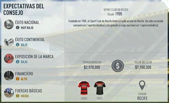 Ficha do Sport no game Fifa 17