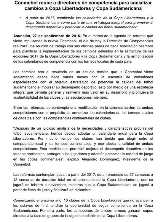 Decisão da Conmebol sobre a Libertadores e a Sul-Americana de 2017