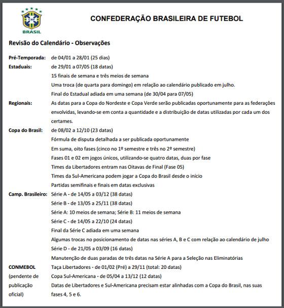 O calendário da CBF para 2017 revisado após as mudanças da Conmebol
