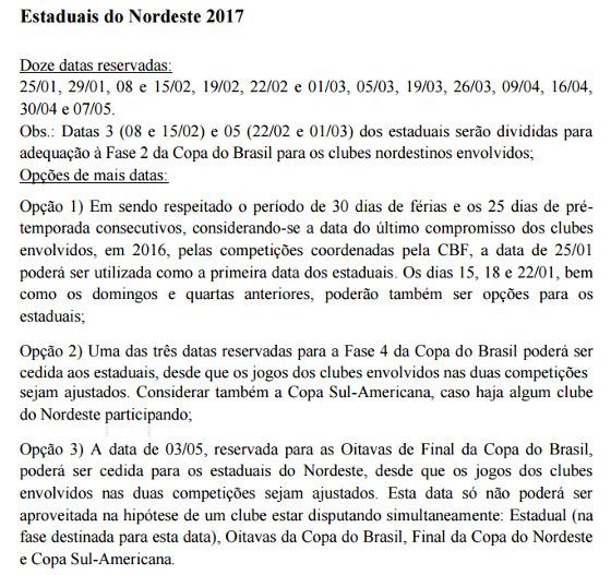 Calendário oficial do futebol brasileiro em 2017, com ajuste na Copa do Nordeste e nos Estaduais