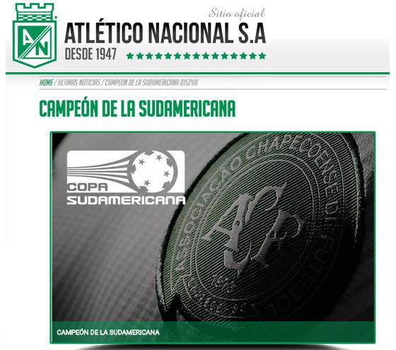 Comunicado do Atlético Nacional sobre o título da Sula 2016. Crédito: Reprodução