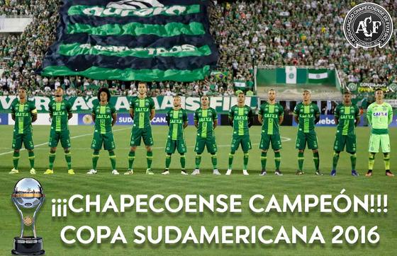 Conmebol oficializa título da Chapecoense na Copa Sul-Americana 2016. Crédito: Conmebol/twitter