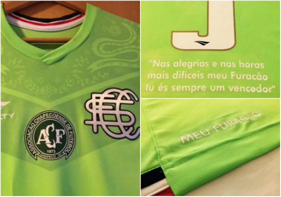 Camisa especial do Santa Cruz em homenagem à Chape. Imagens: Santa Cruz/divulgação