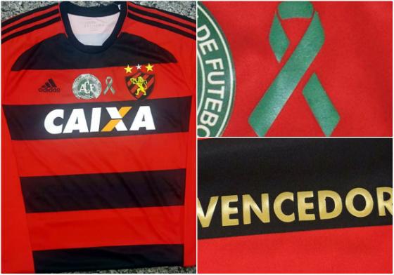Camisa especial do Sport em homenagem à Chape. Imagens  Sport divulgação f6659e0f9585e
