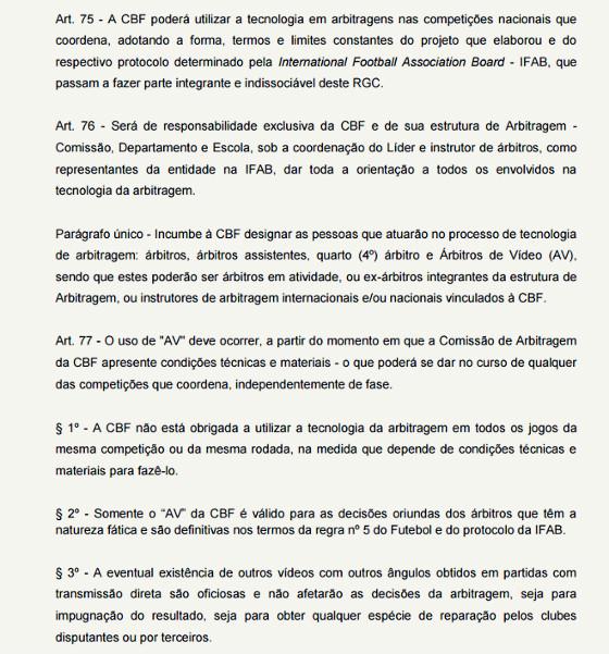 """Regulamento Geral de Competições da CBF, para 2017, sobre a função do """"árbitro de vídeo"""". Crédito: reprodução"""