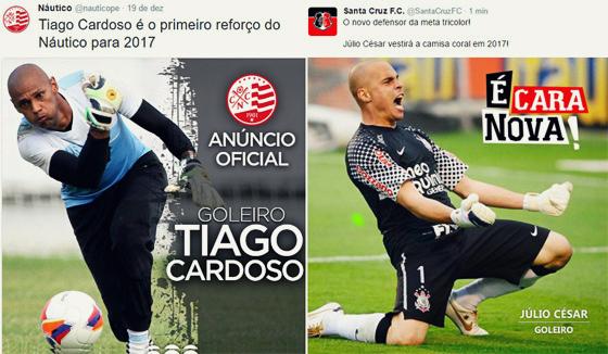 Anúncio oficial das contratações, através dos perfis oficiais de Náutico (Tiago Cardoso) e Santa Cruz (Júlio César)