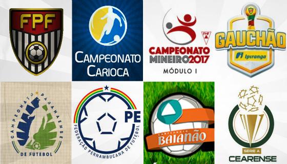 Campeonatos estaduais de São Paulo, Rio de Janeiro, Minas Gerais, Rio Grande do Sul, Paraná, Pernambuco, Bahia e Ceará