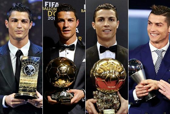 Cristiano Ronaldo, o melhor do mundo 2008, 2013, 2014 e 2016. Fotos: Fifa/divulgação
