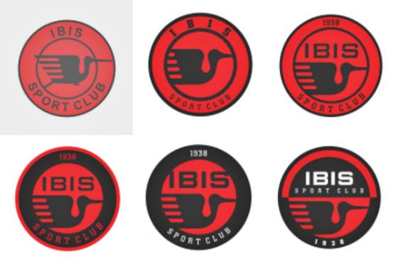 """Projetos para um redesenho do distintivo do Íbis. Crédito: livro """"Construindo Marcas"""", de Marcos Daniel Dobbin e Roberto Varela"""