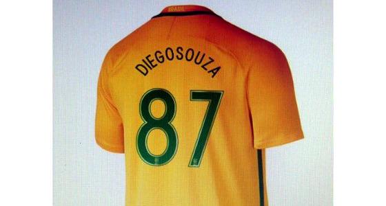 Meme no twitter sobre a camisa de Diego Souza na Seleção Brasileira. Crédito: reprodução