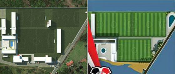 O projeto original (à esquerda) e o novo projeto (à direita) do Centro de Treinamento do Santa Cruz. Crédito: divulgação