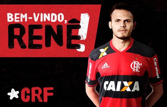 Renê confirmado pelo Flamengo, em 06/02/2017. Crédito: Flamengo/twitter (@flamengo)