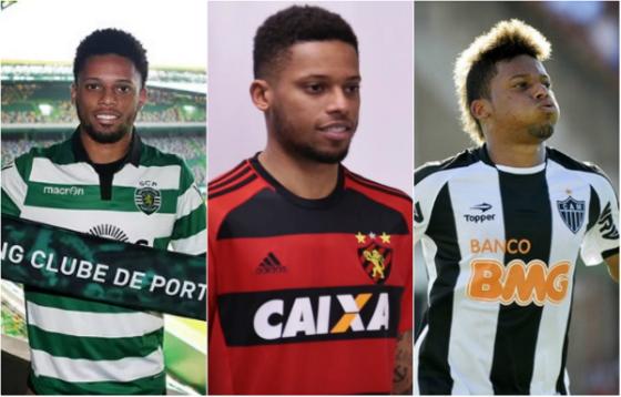 André com as camisas de Sporting, Sport Recife e Atlético-MG