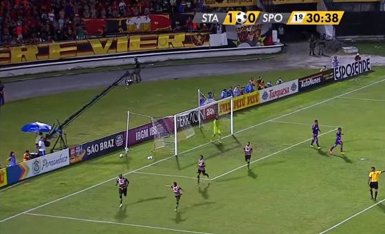 Reprodução da transmissão da Globo Nordeste no jogo de ida da final do Pernambucano 2016 (Santa Cruz 1 x 0 Sport)