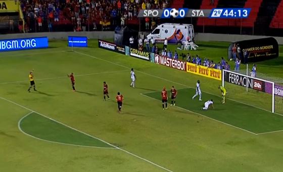 Reprodução da transmissão da Globo Nordeste no jogo de volta da final do Pernambucano 2016 (Sport 0 x 0 Santa Cruz)