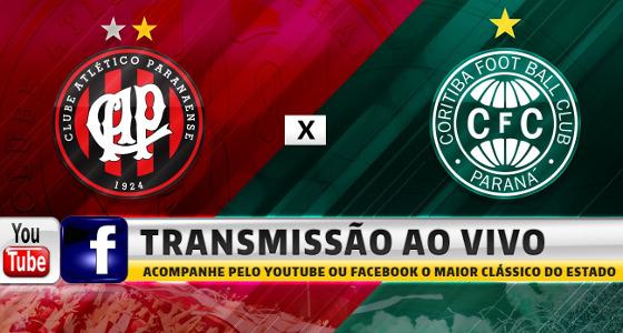 Atlético-PR x Coritiba com transmissão liberada no Youtube e no Facebook. Crédito: CAP/divulgação