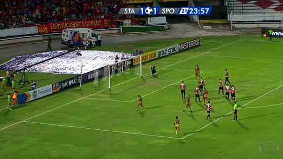 Pernambucano 2017, 4ª rodada: Santa Cruz 1 x 1 Sport. Crédito: Rede Globo/reprodução