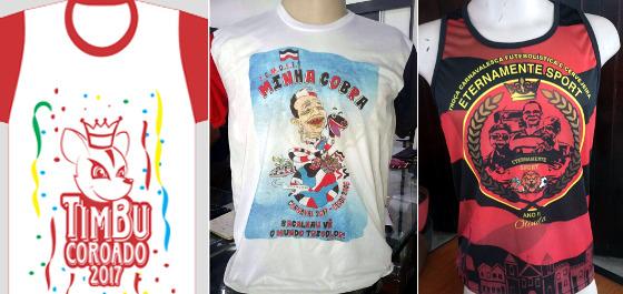 As camisas de 2017 para os blocos Timbu Coroado, Minha Cobra e Eternamente Sport