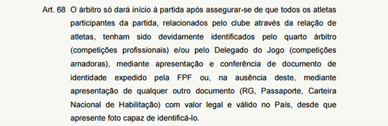 Artigo 68 do Regulamento Geral de Competições da FPF. Crédito: reprodução/FPF
