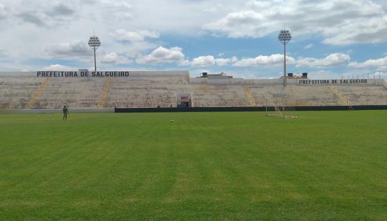Campo do estádio Cornélio de Barros em março de 2017. Foto: Carcará Net/twitter (@CarcaraNet)