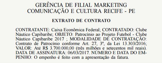 Registro do Diário Oficial da União sobre o patrocínio do Náutico com a Caixa em 2017