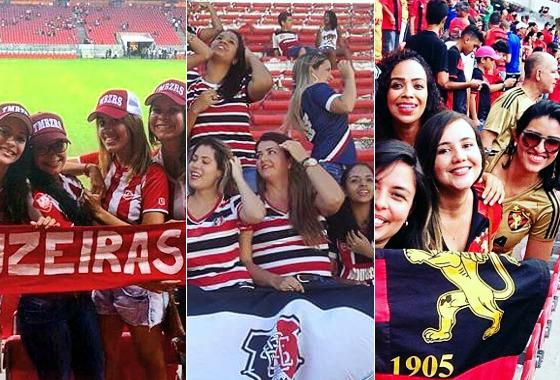 Torcidas femininas de Náutico, Santa Cruz e Sport. Fotos: Timbuzeiras/twitter (@timbuzeiras), Elas e o Sport/instagram (@elaseosport) e Fechadas com o Santa/facebook (@fechadascomosanta)