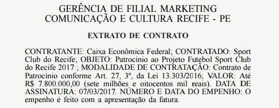 Registro do Diário Oficial da União sobre o patrocínio do Sport com a Caixa em 2017