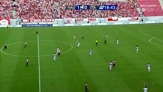 Nordestão 2017, 1ª fase: Náutico 1x0 Santa Cruz. Crédito: Rede Globo/reprodução