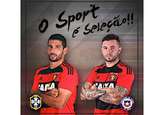 Diego Souza (Brasil) e Mena (Chile), do Sport. Ambos convocados para as Eliminatórias da Copa 2018. Crédito: Sport/instagram (@sportrecife)