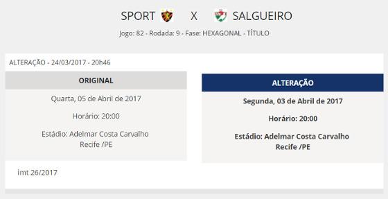 Registro da FPF sobre a munda de Sport x Salgueiro, pela 9ª rodada do hexagonal estadual de 2017