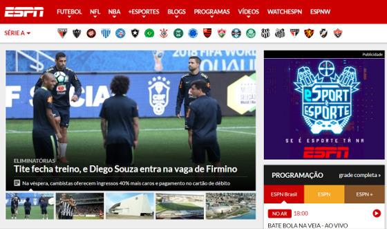Home do site de esportes da ESPN Brasil em 27/03/2017