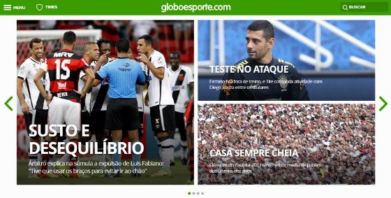 Home do site de esportes da Globo em 27/03/2017