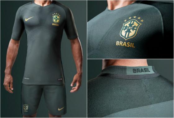 Novo modelo para o 3º uniforme da Seleção Brasileira (2017). Crédito: CBF/divulgação