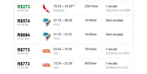 Passagens áreas Aracaju/Recife para o dia 30/03/2017. Crédito: Google/reprodução