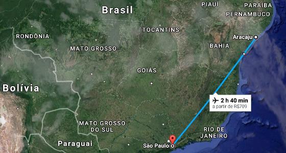 Viagem aérea de Aracaju a São Paulo. Crédito: Google Maps/reprodução