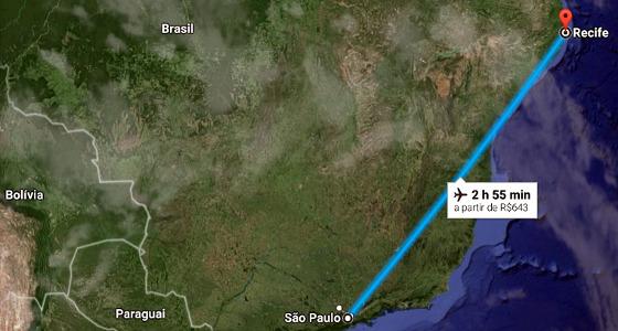 Viagem aérea de São Paulo ao Recife. Crédito: Google Maps/reprodução