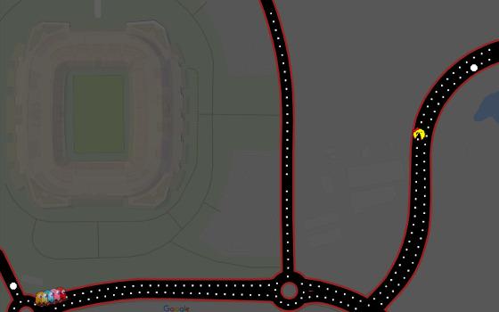 Pac-Man na Arena Pernambuco. Crédito: Google Maps/reprodução