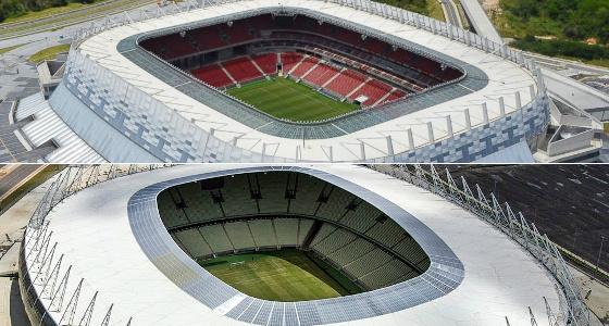 Estádios Arena Pernambuco e Castelão. Fotos: divulgação