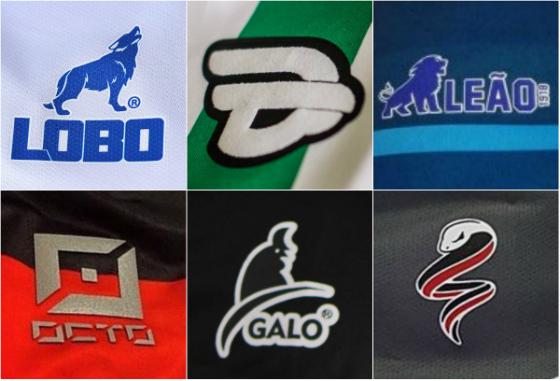 Marcas próprias de Paysandu (Lobo), Juventude (19Treze), Fortaleza (Leão 2018), Joinville (Octo), Treze (Galo) e Santa Cruz (Cobra Coral)